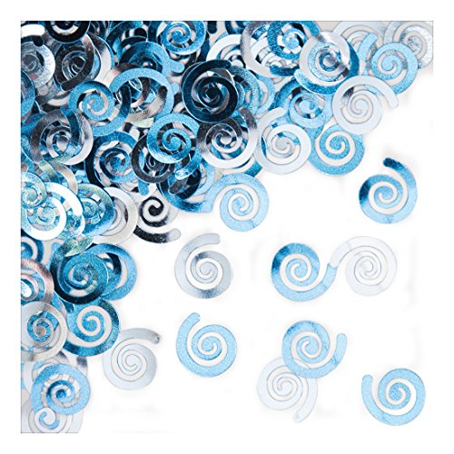 Creative Converting 21090 Metallic Confetti Swirls, Pastel Blue