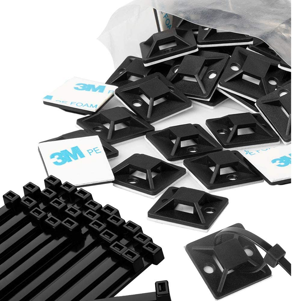 KALENO Zip Tie Mounts - Small Cable Tie Adhesive Mount And Zip Ties, 3/4in Black 100 Set. Wires Zip Tie Adhesive-backedanchors perfect for Pedal Board Cable Management Outdoor Indoor