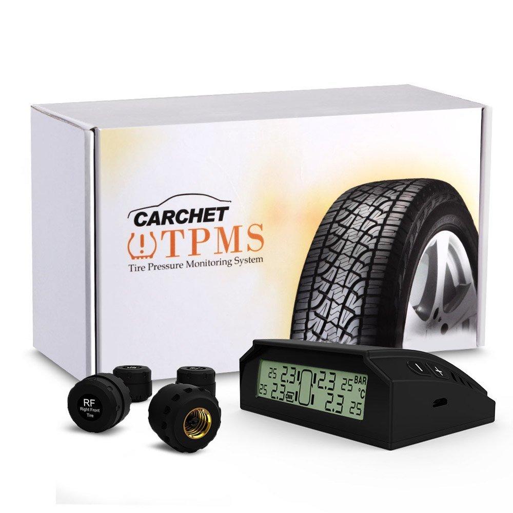 CARCHET Reifendruckkontrollsystem, TPMS Reifendruckmesser Reifendruckkontrolle mit 4 Sensoren, Reifendruck-und Temperatur anzeigen + intern Solarzelle fü r Wohnmobil, Auto, KFZ usw CQ574-QP