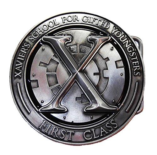 X Men Costume Belt (Marvel Comics X-MEN XAVIER'S SCHOOL Crest BELT BUCKLE)