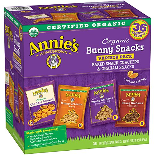 Annie's Organic Variety Pack, Cheddar Bunnies and Bunny Graham Crackers Snack Packs, 36 Pouches, 1 oz Each (Cheese Crackers Snacks)