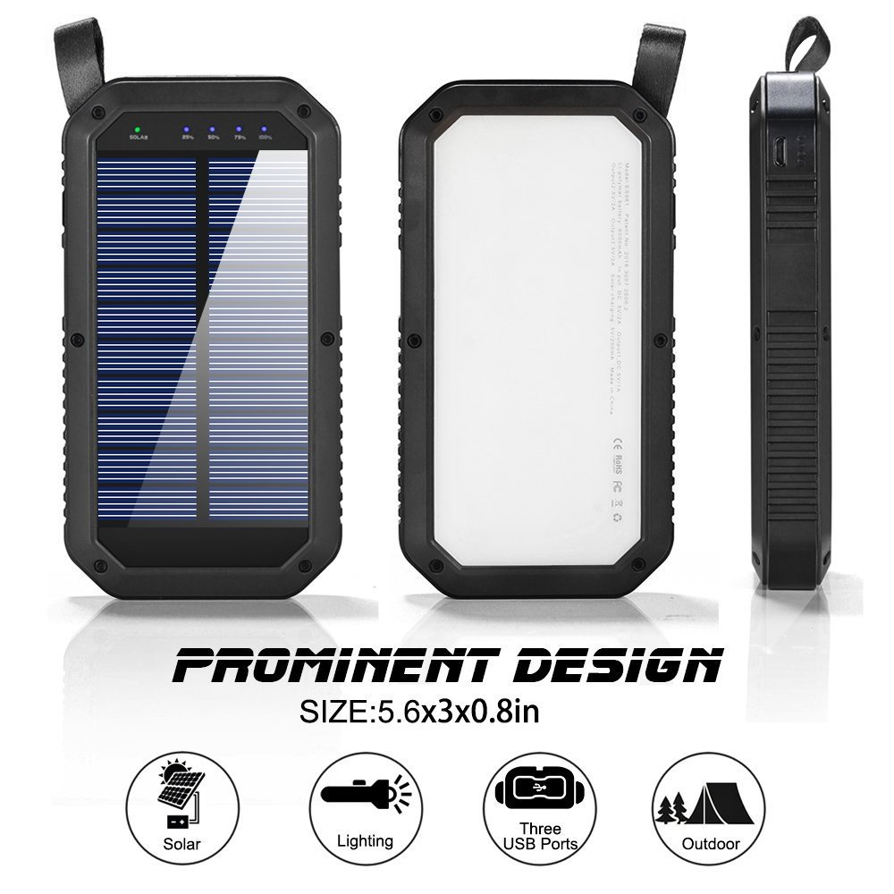Solar Charger 8000mAh, BESWILL 3 USB Ports and 21 LED light Portable Solar External Battery Power Bank Phone Charger for iPhone, iPad, Samsung, Android and other Smart Devices by BESWILL (Image #5)
