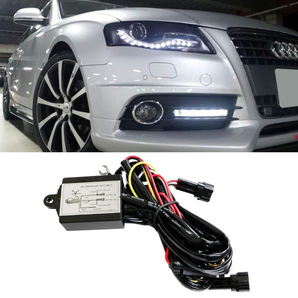 Ijdmtoy 1 Universal Led Daytime Running Light Headlights On Lights Drl Wiring Diagram Automatic Off Controller Module Box Relay Automotive