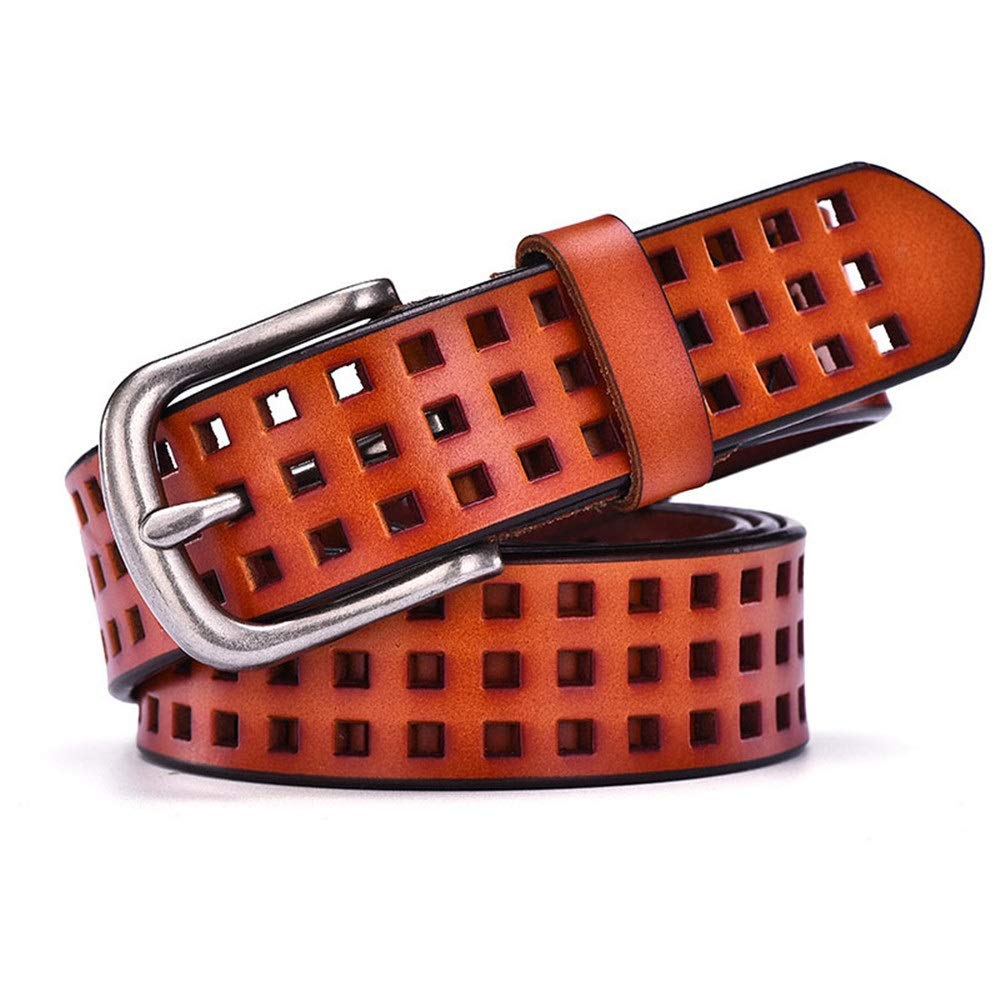 orange Waist Belt Hollow Leather Belts for Womens Soft Leather Womens Belts with Pin Buckle Womens Belts (color   RedBrown, Size   M)