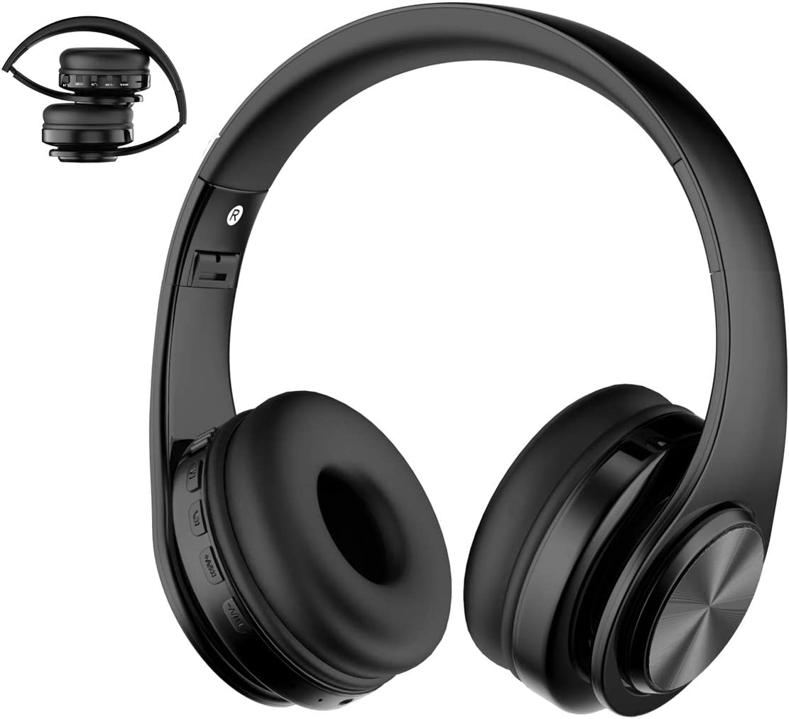Viwind Wireless Bluetooth 5.0 Headphones Over Ear with Mic,Foldable Noise Cancelling Headset for Travel Work TV PC Android Cellphone Hi-Fi Stereo Comfortable Earpads -Black