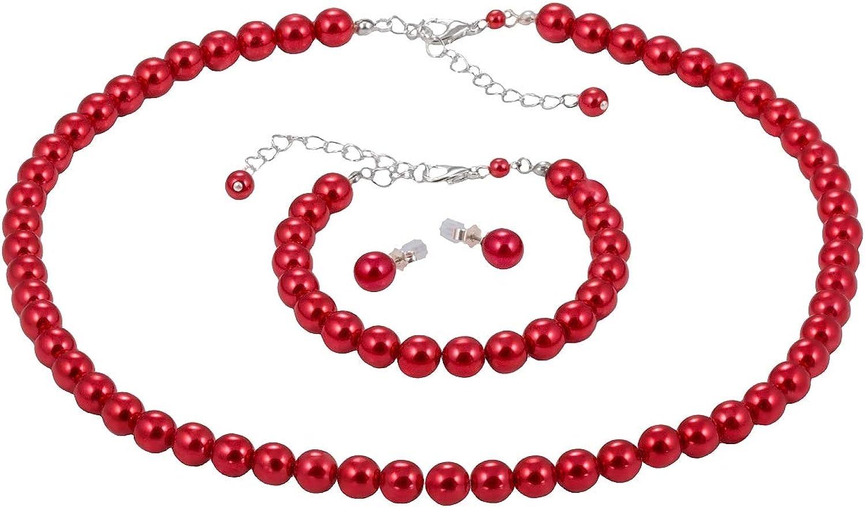 Bijou Art Conjunto Collar Pendientes y Pulsera para Mujer Perlas Rojo 1,4 cm Plateado Titanio