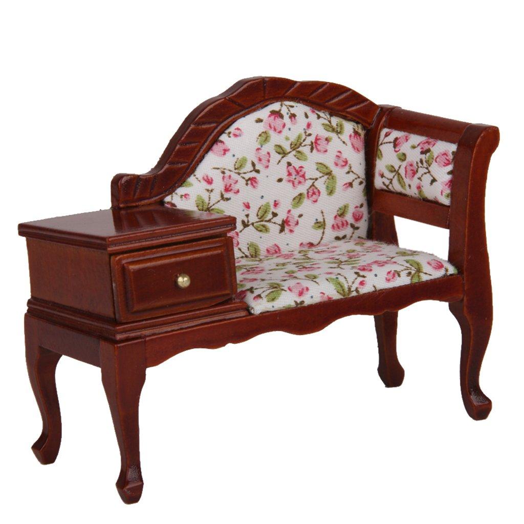 dollhouse miniature furniture. Amazon.com: MagiDeal 1/12 Dollhouse Miniature Furniture Wooden Floral Recliner W/ Drawer: Kitchen \u0026 Dining I