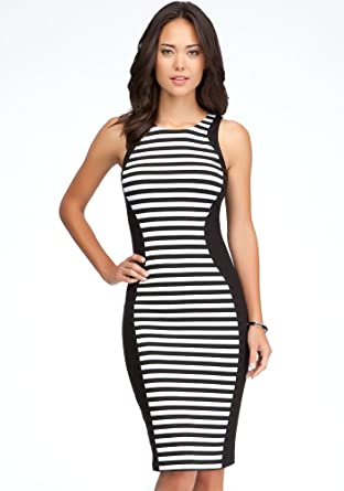 Bebe Stripe Block Midi Dress Day Dresses Blackwhite Xs At Amazon