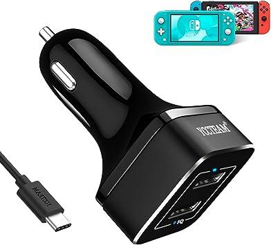 Cargador de coche para Nintendo Switch and Switch Lite, YCCTEAM QC3.0 cargador de coche con