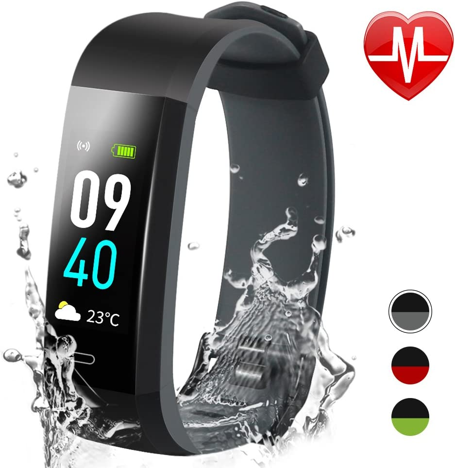 Jeestam Color Screen Fitness Tracker with Double Color Strap,Activity Tracker with Heart Rate Monitor Sleep Monitor,Waterproof Smart Watch Bracelet Pedometer Wristband for Android iOS
