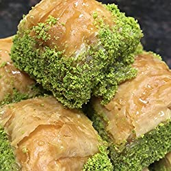 Baklava Desserts and pastries – Baklava with Pistachio - Best Baklava Online – Authentic Turkish Baklava Handmade in USA – Superior Hygiene & Quality Control – Top Grade Nuts – Pack of 2 lb