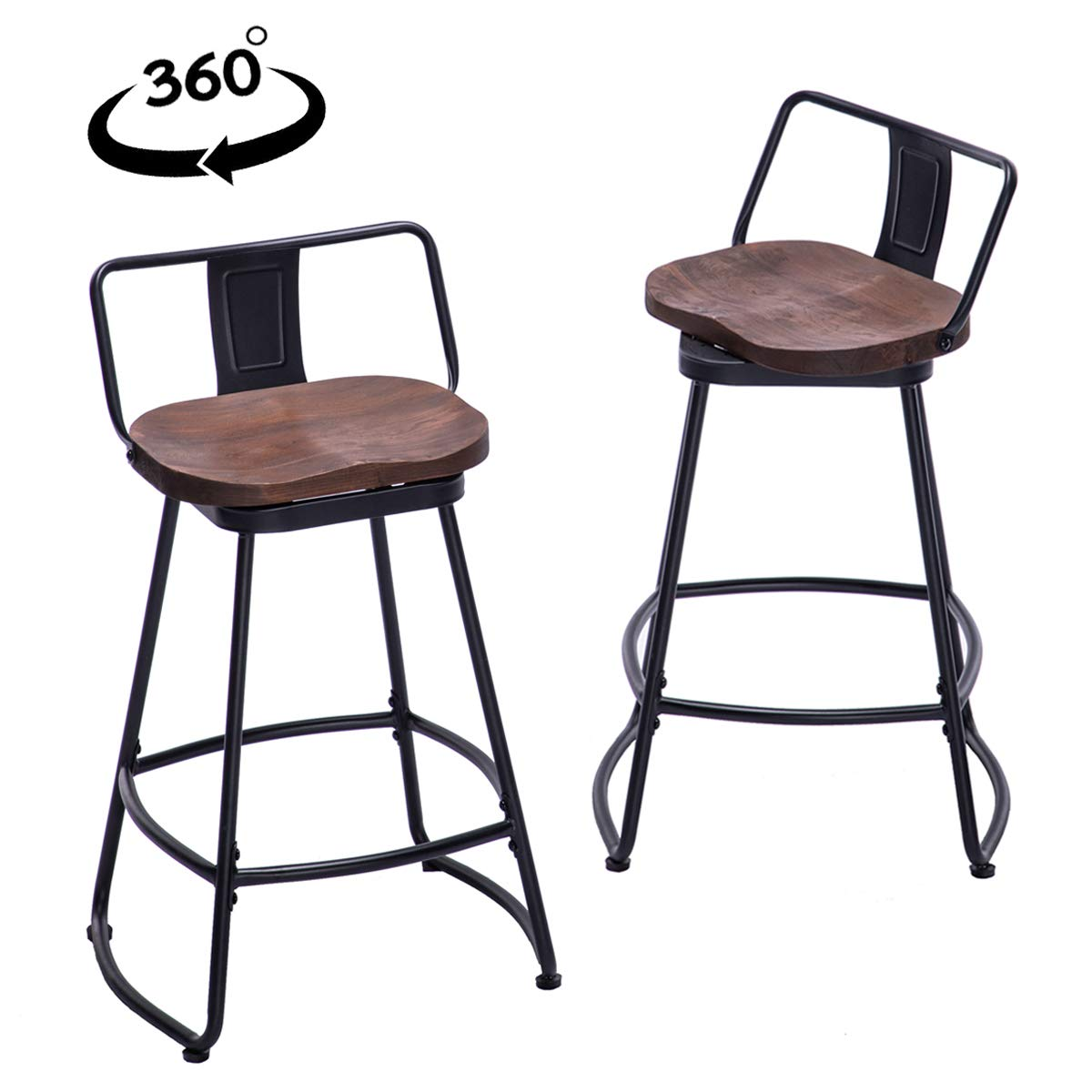 YongQiang Metal Bar Stools Set of 2 Low Back Swivel Wooden Seat Industrial Indoor Outdoor Counter Bar Chairs 26 inch Matte Black