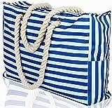 Beach Bag XXL. 100% Waterproof (IP64). L22 xH15 xW6 w Cotton Rope Handles, Top Zipper, Extra Outside Pocket. Blue Stripes Beach Tote Includes Waterproof Phone Case, Built-in Key Holder, Bottle Opener