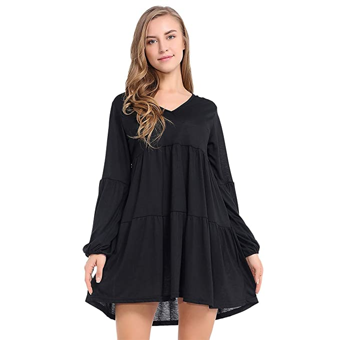45f92a3db963 JTANIB Long Sleeve Tunic Ruffle Dress V-Neck Casual Loose Swing Dress for  Women,