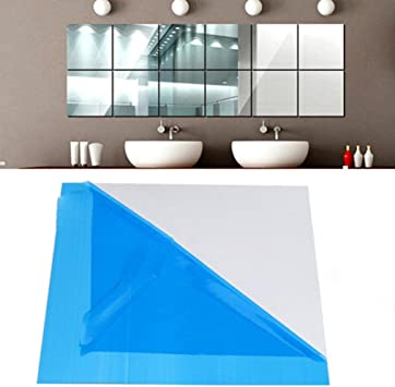 Mirror Tile Wall Sticker Square Self Adhesive Room Bathroom Decor Stick On ArtES