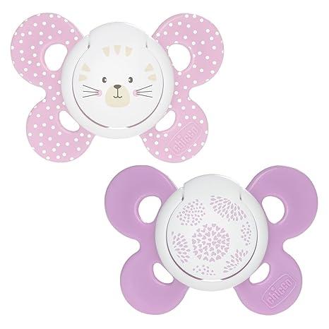 Chicco Physio Comfort - Pack de 2 chupetes de silicona 6-16 m, color rosa (diseños surtidos)