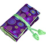 ALASKA BEAR - Jewelry Wrap Roll Travel Pouch with Silk Embroidery Brocade Tie Close Handbags(Violet)