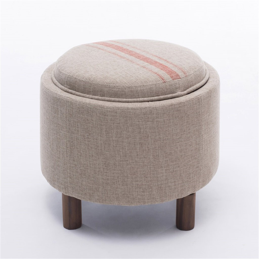 AIDELAI Stool chair Stool Solid Wood Storage Sofa Stool Coffee Table Stool Fabric Shoes Shoe Storage Stool Multifunctional Bed Stool Saddle Seat ( Color : B )
