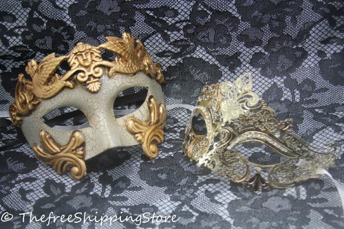 Roman Couples Costumes - Matching Couple Lover Gold Roman & Gold Luxury Venetian Masquerade Mask