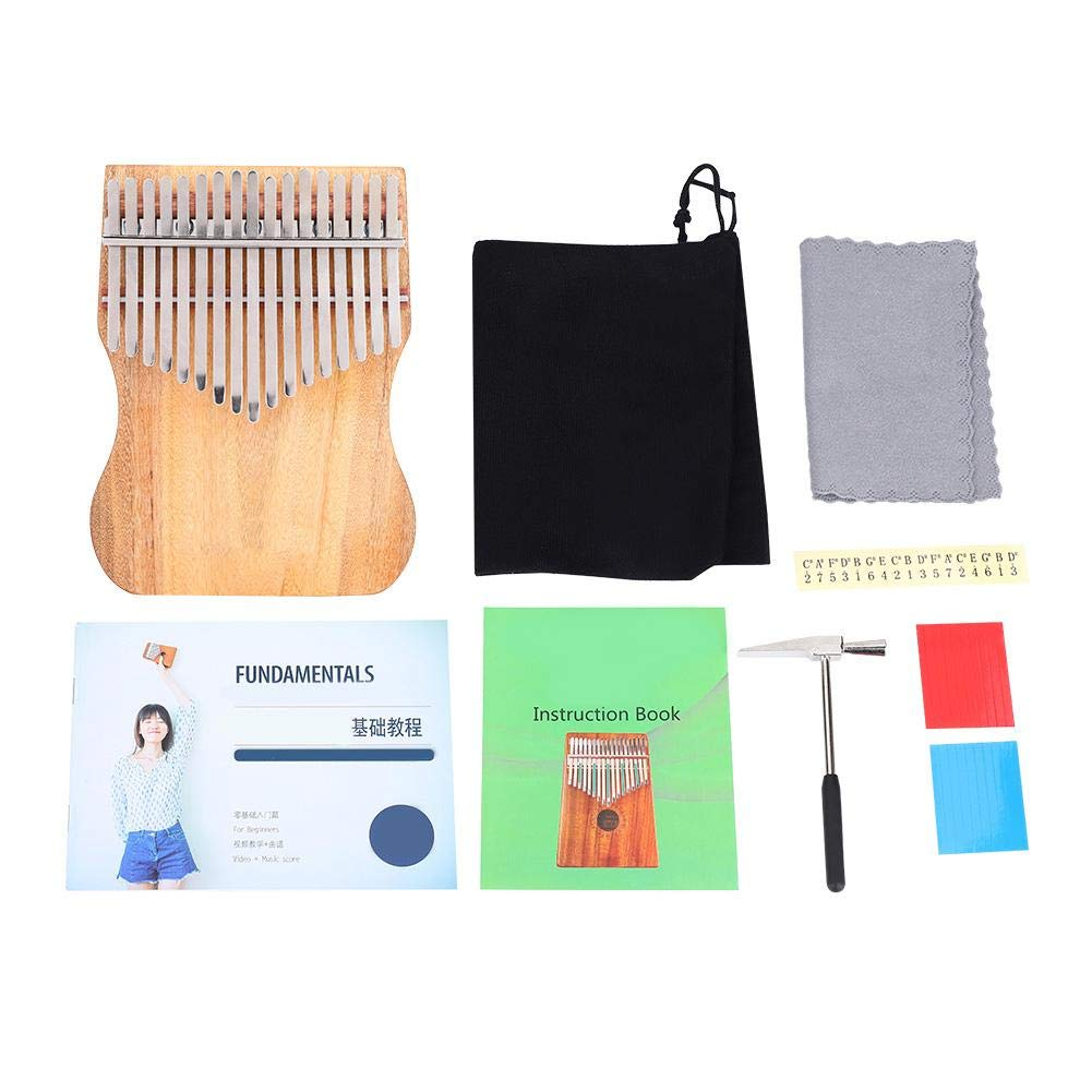 Kalimba 17 Keys Thumb Piano, Full Solid Camphor Wood Portable Thumb Piano with Drawstring Cloth Bag K17CAP for Children Friends Music Lovers by Dilwe (Image #2)