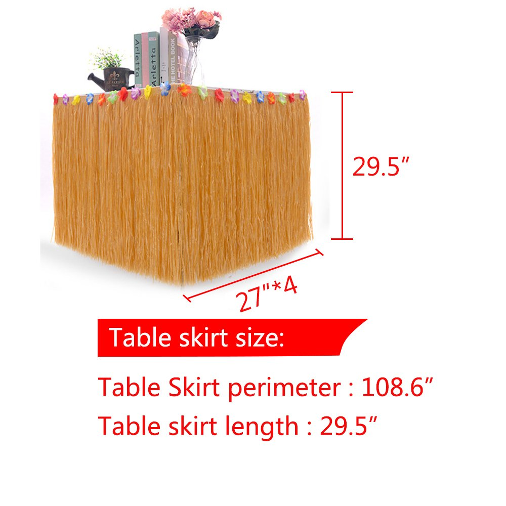 BAKHUK 1Pack 9ft Hawaiian Table Hula Grass Skirt with Little Flowers and 30Pcs Hibiscus Flowers for Tabletop Decoration, Party Decoration, Birthdays, Celebration by BAKHUK (Image #2)