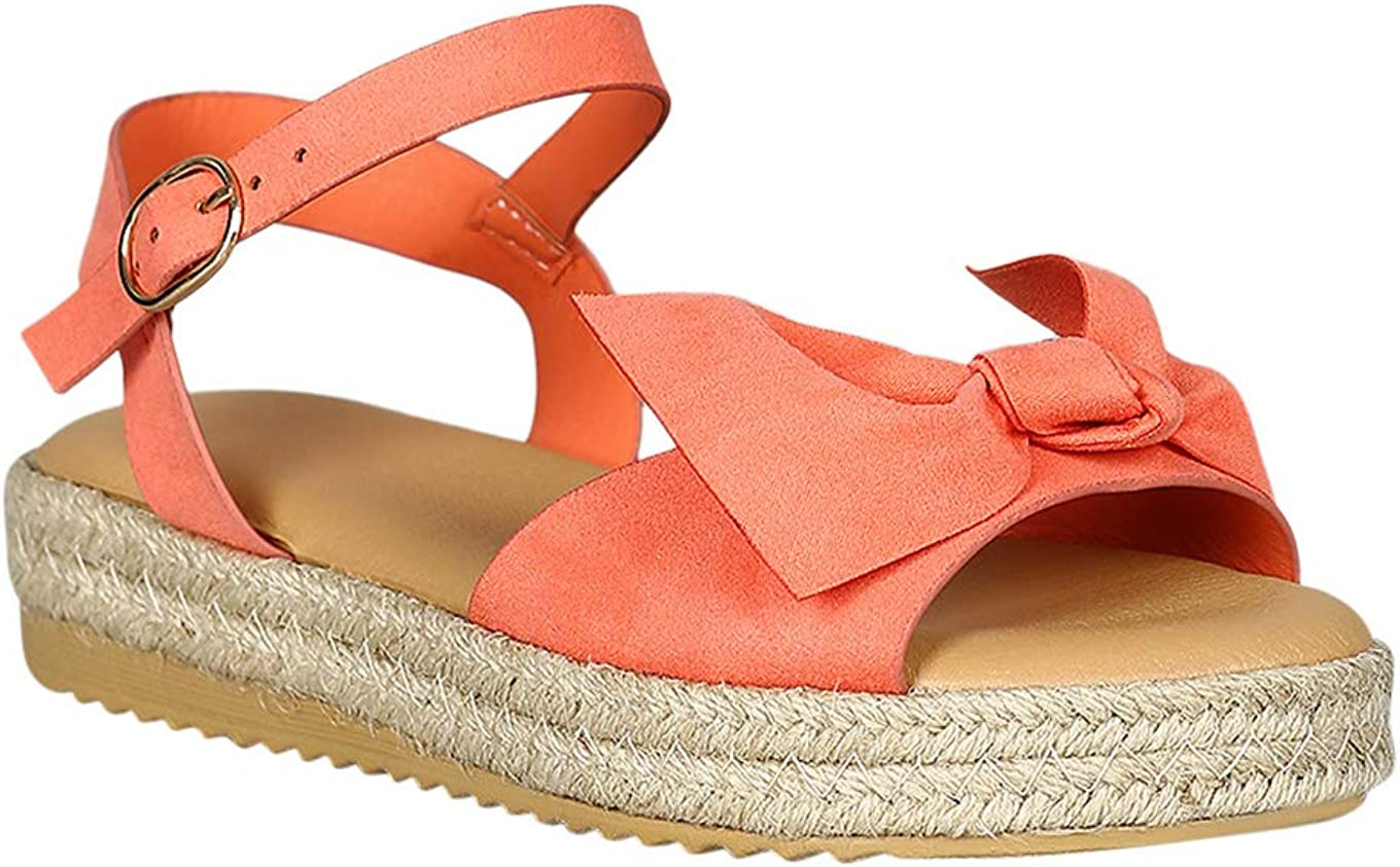 Alrisco Women Open Toe Bow Accent Espadrille Flatform Sandal RD56