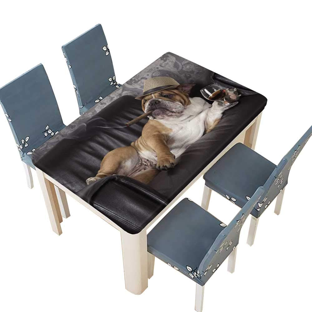 PINAFORE Decorative Tablecloth Humorous Photograph of English Bulldog Resting in a Black Leather Chair with a cigarand Glass Table Cover for Dining Room and Party W61 x L100 INCH (Elastic Edge)