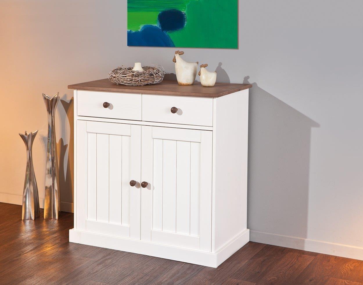Esidra Meadville Buffet 2 Türen und 2 Schubladen, Holz, Weiß, 90 x 45 x 86 cm