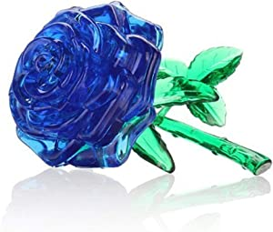 Nerlmiay Original 3D Crystal Puzzle Rose Flower Creative Gift Fun Toy for Puzzlers Toy(Blue)