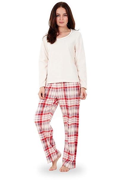 Pijama de invierno para mujer, de tela polar blanco crema 42