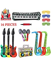 SUPERSUN 16PCS Inflatable Guitars, Rock Star Party Props Decorations Toys Balloons, RockStar Fancy Dress Costume Accessories, Inflatable Microphones Saxophones Musical Instruments Set