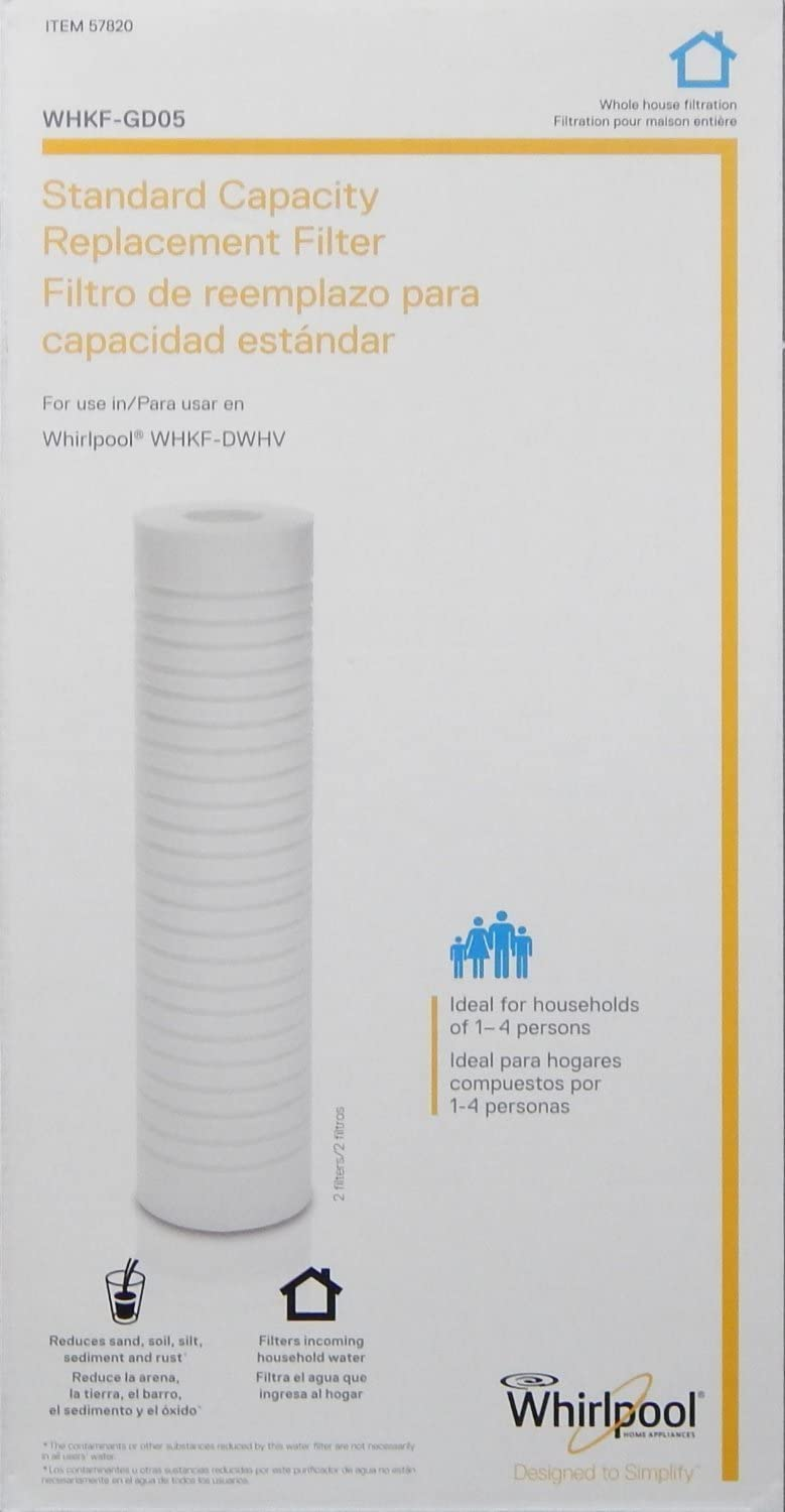 WHIRLPOOL Standard Capacity Whole House Filtration Replacement Filter (2 Pack) WHKF-GD05 (Packaging May Vary): Home & Kitchen