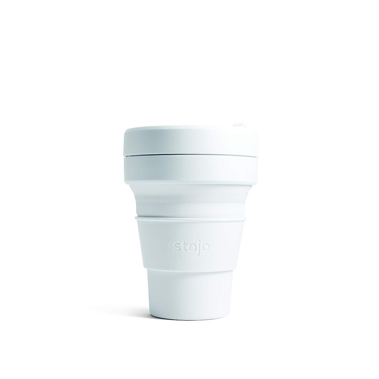 Reusable 12 oz Black Travel Mug Leak Proof Lid Silicone Stojo Collapsible Cup
