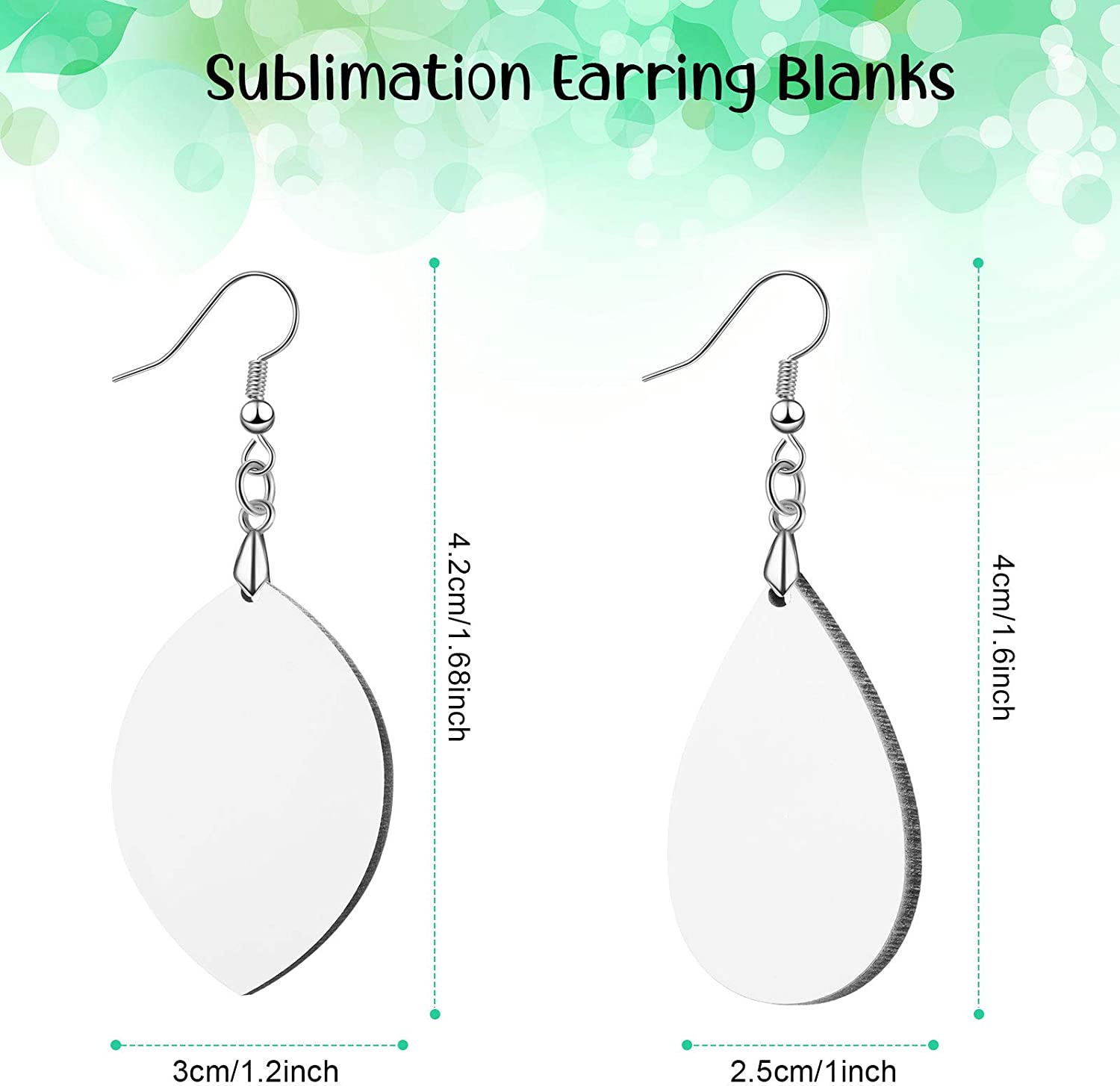 12 Pairs Sublimation Earring Blank Heat Transfer Wire Hooks Earrings Unfinished Wood Teardrop Earring Pendant with Earring Hooks for Jewelry Making DIY Craft