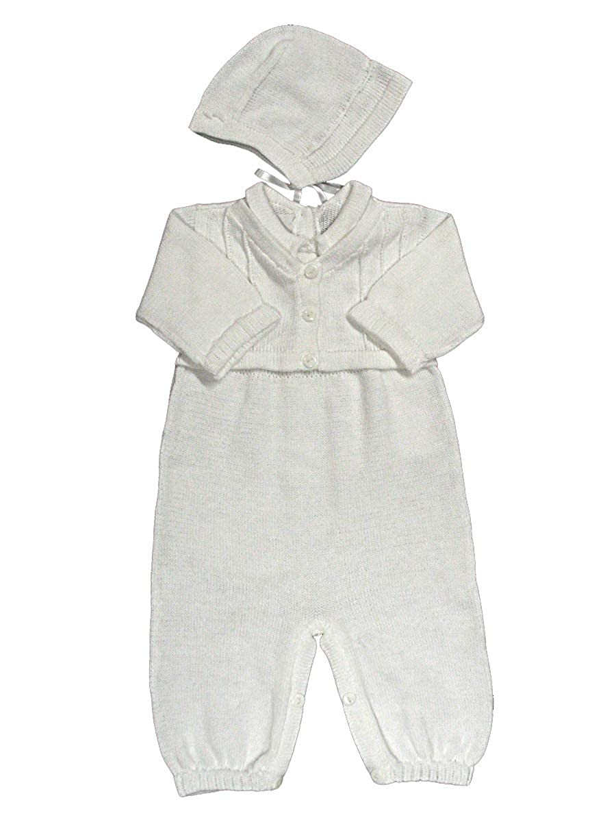 Babys Trousseau Mock Sweater Knit Romper w//Hat A1135