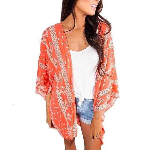 52195dde4b Fashion Women Sheer Chiffon Shawl Kimono Cardigan Tops Hobo Print Beach  Cover up Blouse Beachwear (