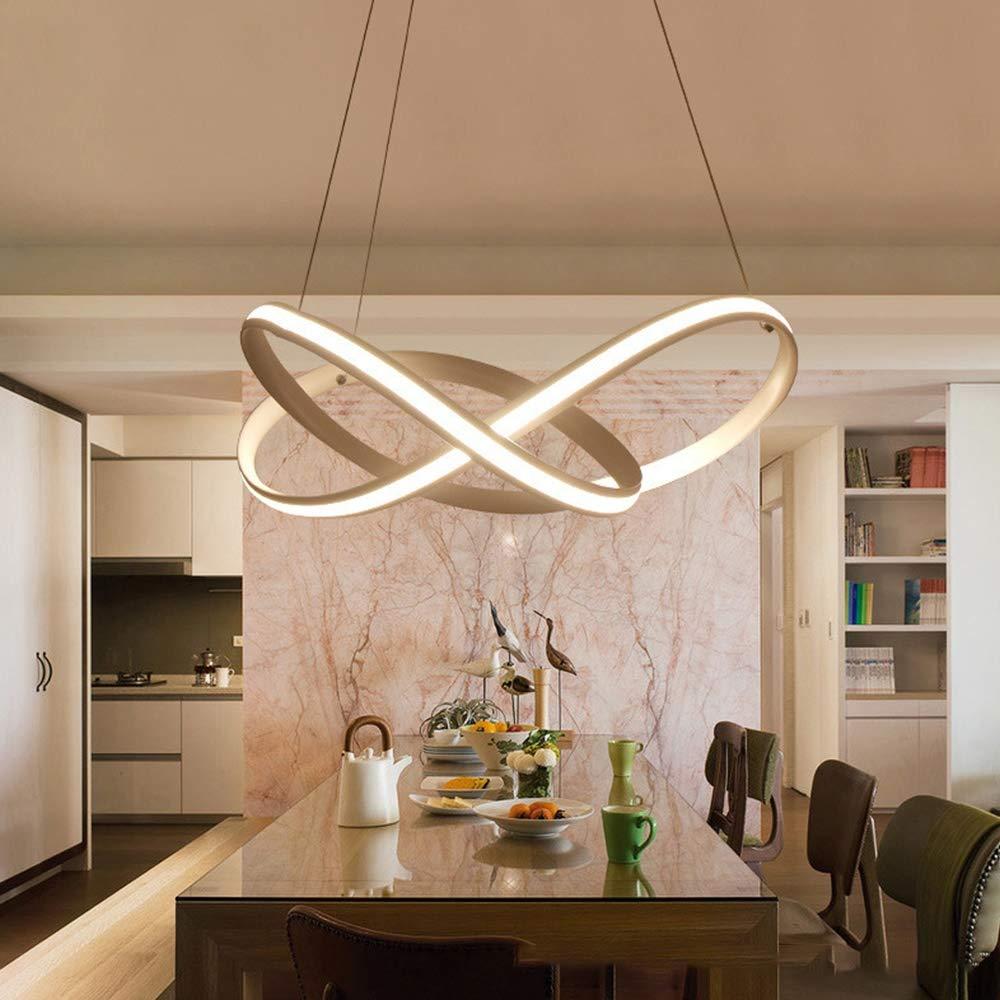 FINDCL Tr/ébol de Forma Redonda LED de la l/ámpara de la Sala de Estar Dormitorio de Techo L/ámpara Creativa Moderna Colgar de la Pared Blanca de la l/ámpara est/éreo 3D de 3 Colores de luz Regulable Art