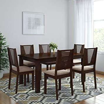 Woodness Vivian Premium Solid Wood Upholstered 6 Seater Dining Table Set Wenge Amazon In Home Kitchen