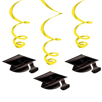 Yellow Graduation Swirl Decorations-30 Pack: Toys & Games