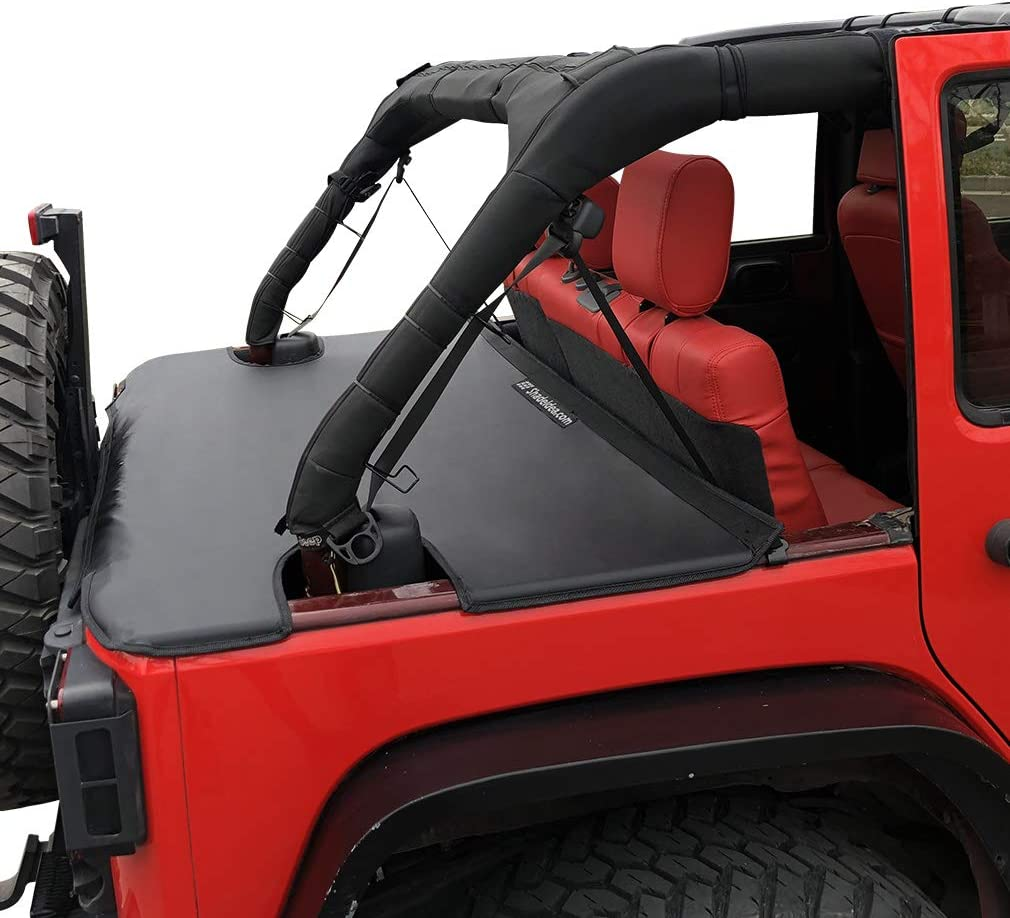 Amazon Com Shadeidea Tonneau Cover For Jeep Wrangler Jk Unlimited 2007 2018 4 Door Rear Trunk Cover Cargo Vinyl Cover For Jku Tailgate Ton Cover Black 3 Years Warranty Automotive