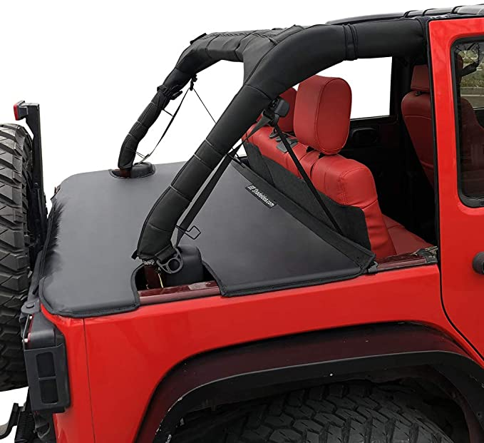 Trunk Cargo Cover w//US Flag Logo for TOP ON//TOPLESS Compatible with Jeep Wrangler JK 07-18 4-Door