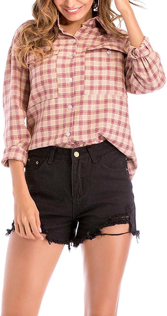 QHDZ Blusa de mujer Camisa de tela escocesa de franela de manga larga con botones a las mujeres con bolsillos: Amazon.es: Ropa y accesorios