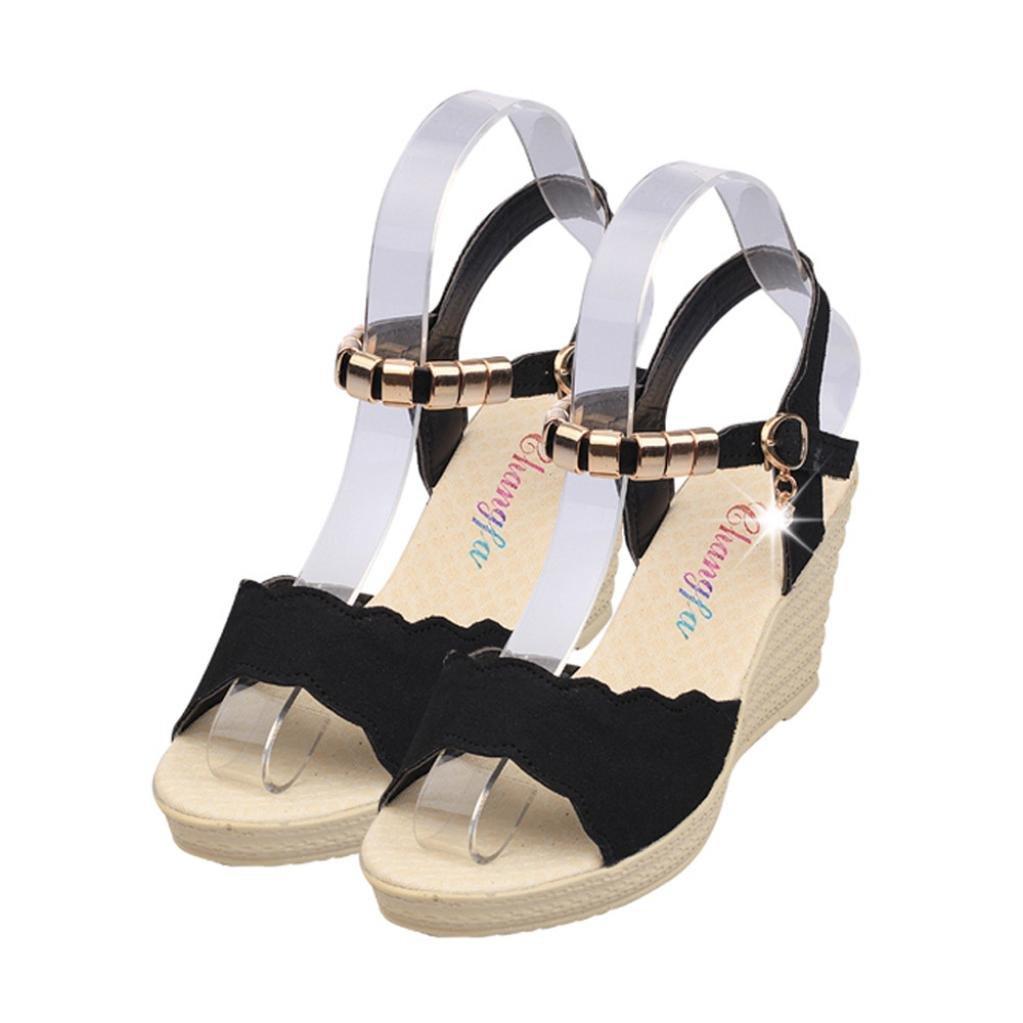 142af95fe132e AIMTOPPY HOT Sale, Summer Wedges Sandals Shinestone Waterproof Platform  open Toe word Buckle women's Shoes (US:7, Black)