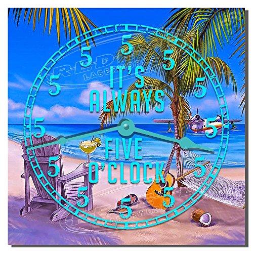 Always Five O'clock Somewhere Decorative Hardboard Kitchen Clock from Redye Laserworks For Sale