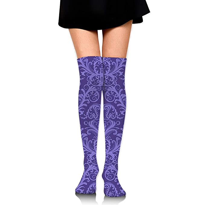 f179df9f4 Amazon.com: Knee High Socks Purple Pattern Long Socks Boot Stocking  Compression Socks For Women: Clothing