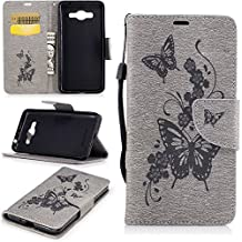 Galaxy J2 prime\Grand Prime (2016) Case, Ngift [Gray] PU Leather with Kickstand [Wrist Strap] [Butterfly flowers] Flip Wallet Case Cover for Samsung Galaxy Galaxy J2 Prime SM-G532M Duos