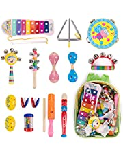 WloveTravel Baby Musical Instruments Wooden Toddler Musical Toys Set,Education Percussion Toys Gift for Kids Boys Girls with Backpack