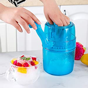 ice shaver Manual Ice Shaver,Portable Hand Crank Operated Ice Breaker Ice Crusher Maker Snow Cone Machine With Stainless Steel Blades(blue)