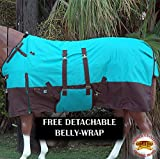 HILASON 1200D Winter Waterproof Horse Blanket Belly Wrap Turquoise Brown