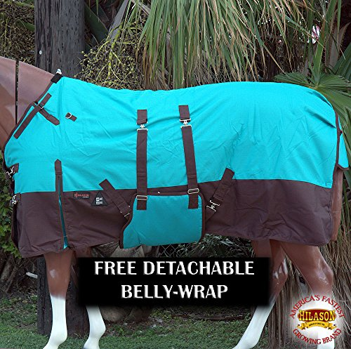 HILASON 76″ 1200D Winter Waterproof Horse Blanket Belly Wrap Turquoise